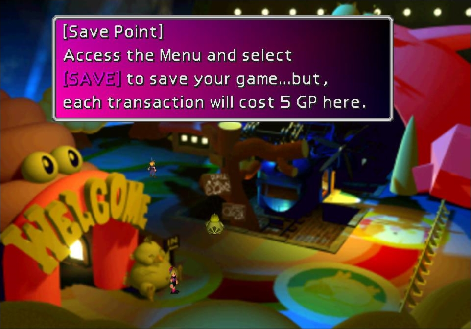 The save point in Golden Saucer, a theme park. A text box tells the player that saving their game will cost 5 GP. Final Fantasy VII, Square Enix, 1997.