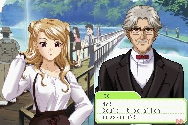 "On the right side of the screen: a girl with a smarmy expression has her blonde hair dressed up in two small buns. Her right hand twirls one side of her hair. On the left side of the screen: an older man dressed in a black suit with a red bow tie wears glasses. A textbox on the bottom of the screen: ""Ito: No! Could it be alien invasion?!"" The background is before a bridge on a lake with trees receding in the distance."