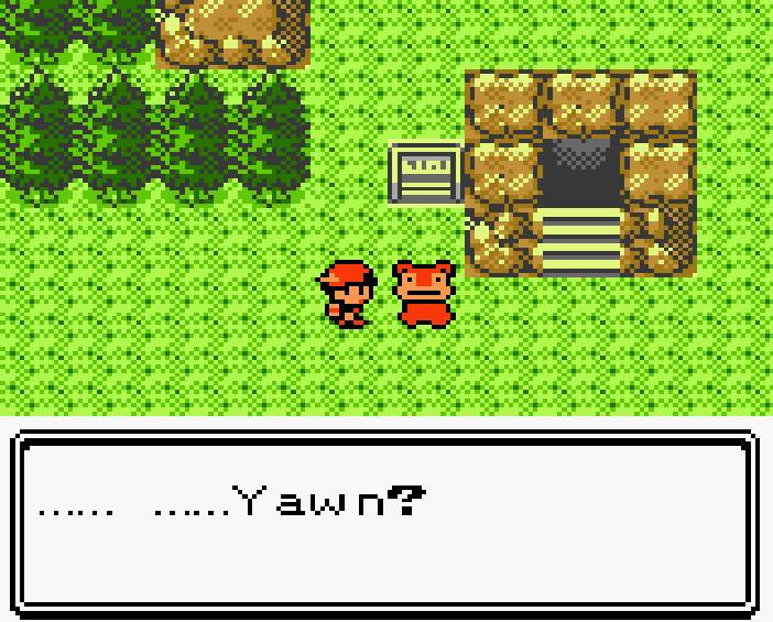 "A character wearing a cap looks towards the left at a creature (a Slowpoke) with trees adjacent to the left of the screen. A textbox on the bottom reads: ""..... ..... Yawn?"" They stand near a stairwell descending down, bordered by a rocky frame with a sign to its right."
