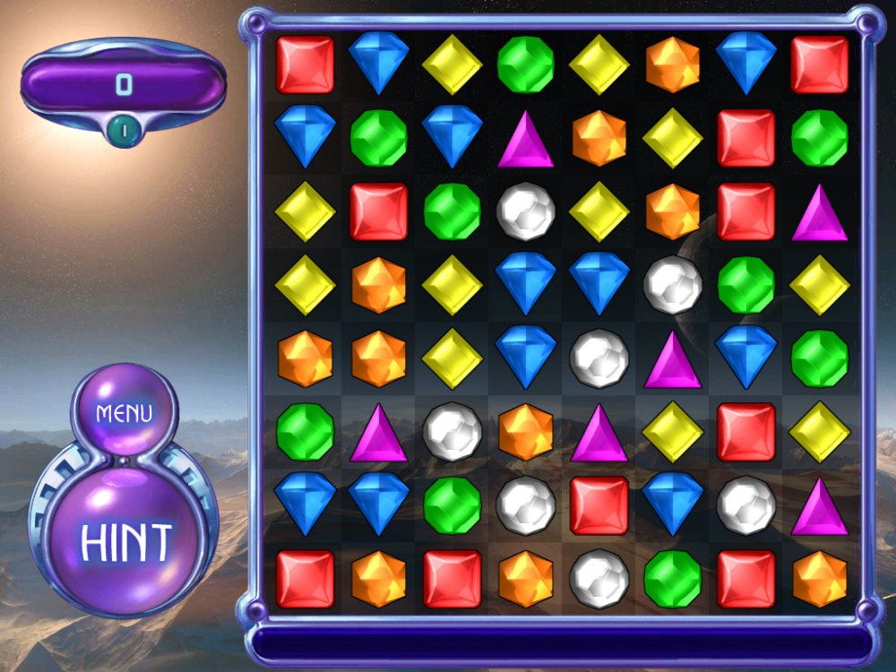 "Screengrap of Bejeweled 2's Classic game mode. On the right, an array of assorted gem stones are confined in a square. On the left, the score meter, the ""Menu"", and ""Hint"" buttons."