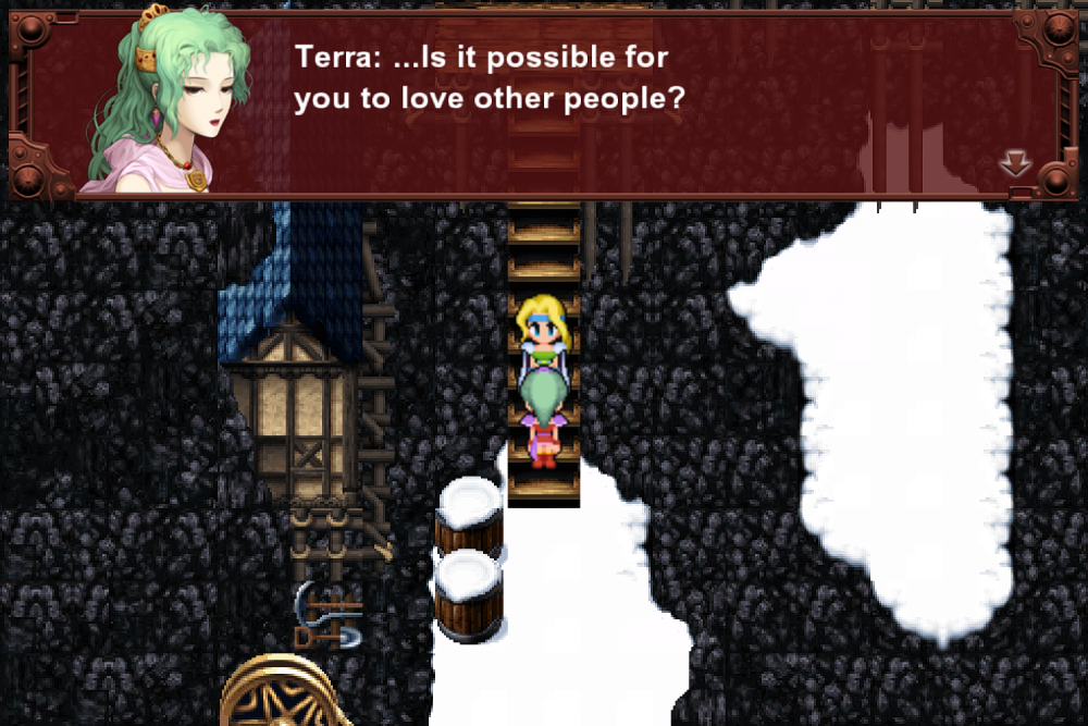 "Terra in Final Fantasy VI, asking, ""Is it possible for you to love other people?"" Final Fantasy VI, Square, 1994."