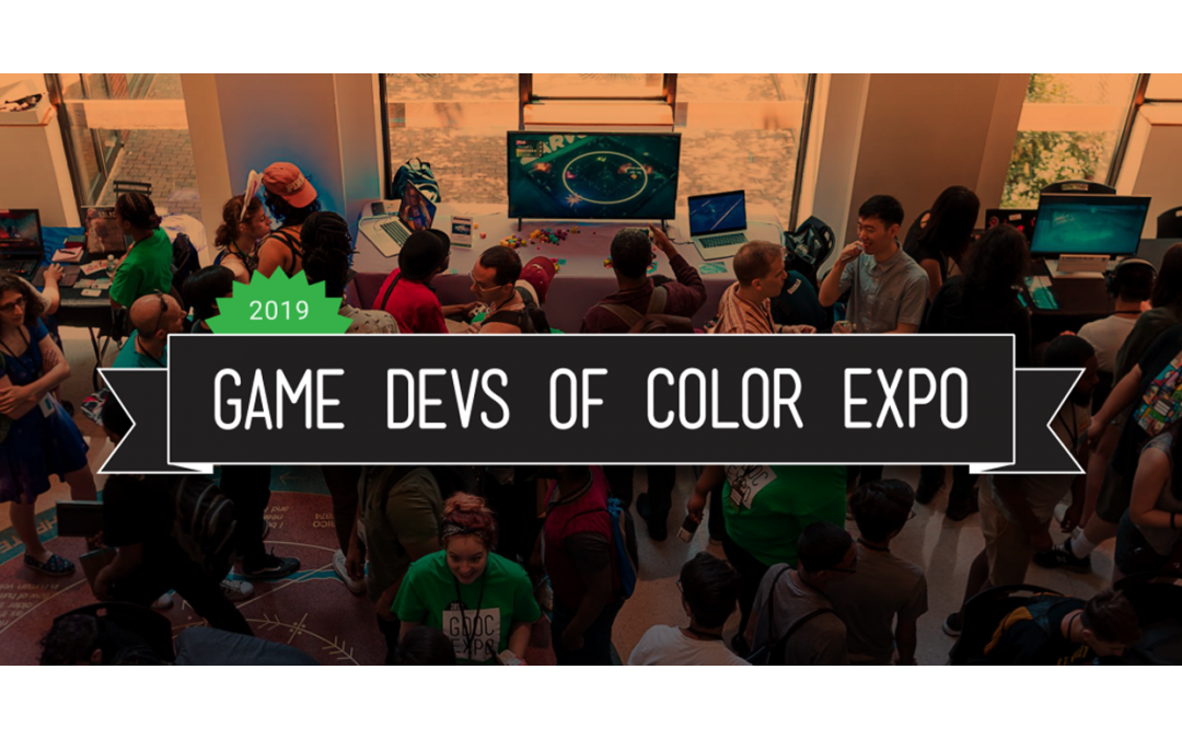 """A graphic banner overlalying a crowd of people reads: """"2019, Game Devs of Color Expo"""""""