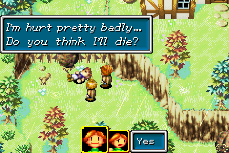 "In a forestry-like area, two characters hover over a body laying down. They are surrounded by a cliff. A textbox above reads: ""I'm hurt pretty badly...Do you think I'll die?"" The user prompt, ""Yes"" is highlighted on the bottom, signified by a happy face."