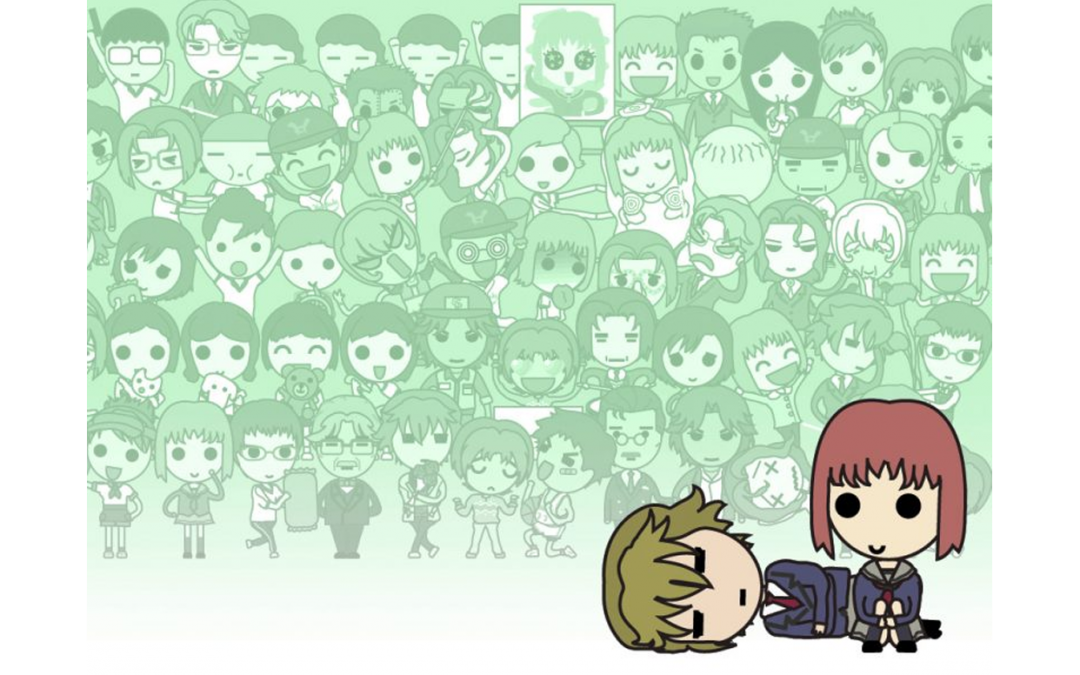 A collage of characters in hyper-stylized, cartoony form from Tokimeki Memorial: Girl's Side form a green-laden background. The short, brunette-haired main character sits on her knees in the foreground, as a male character lies on his side next to her.
