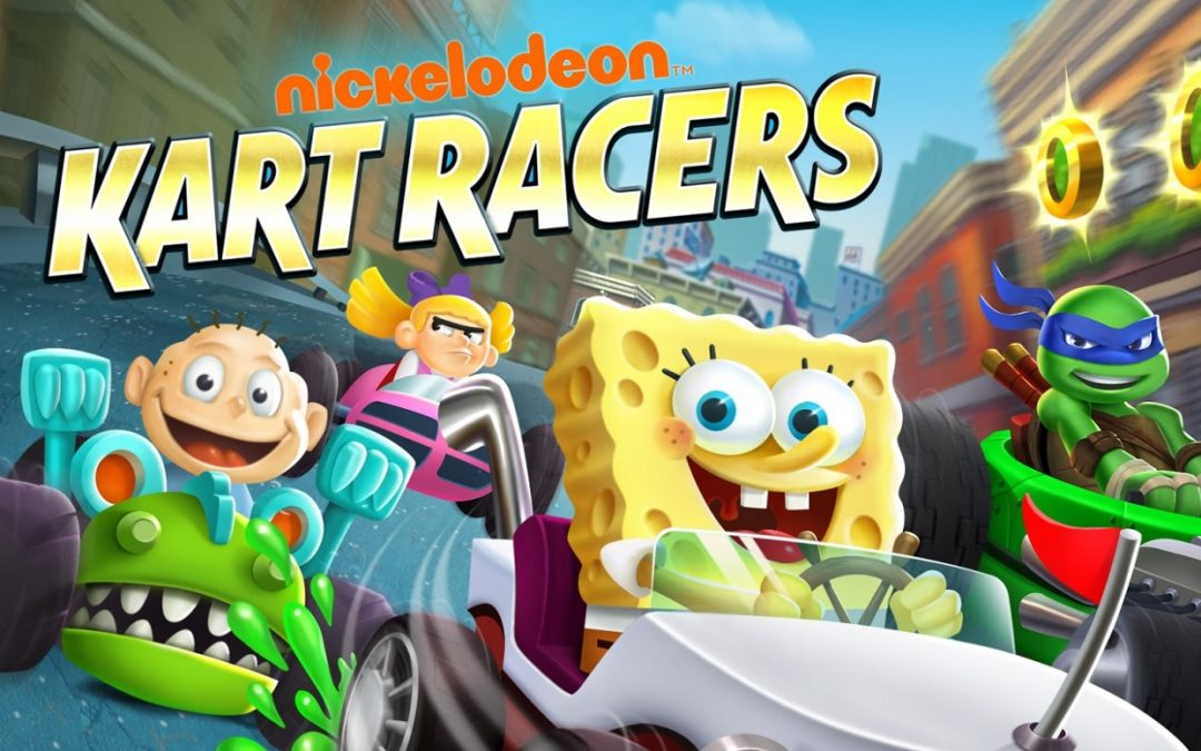 The Nickelodeon Kart Racers cover, showing many Nickelodeon cartoon characters racing against one another.