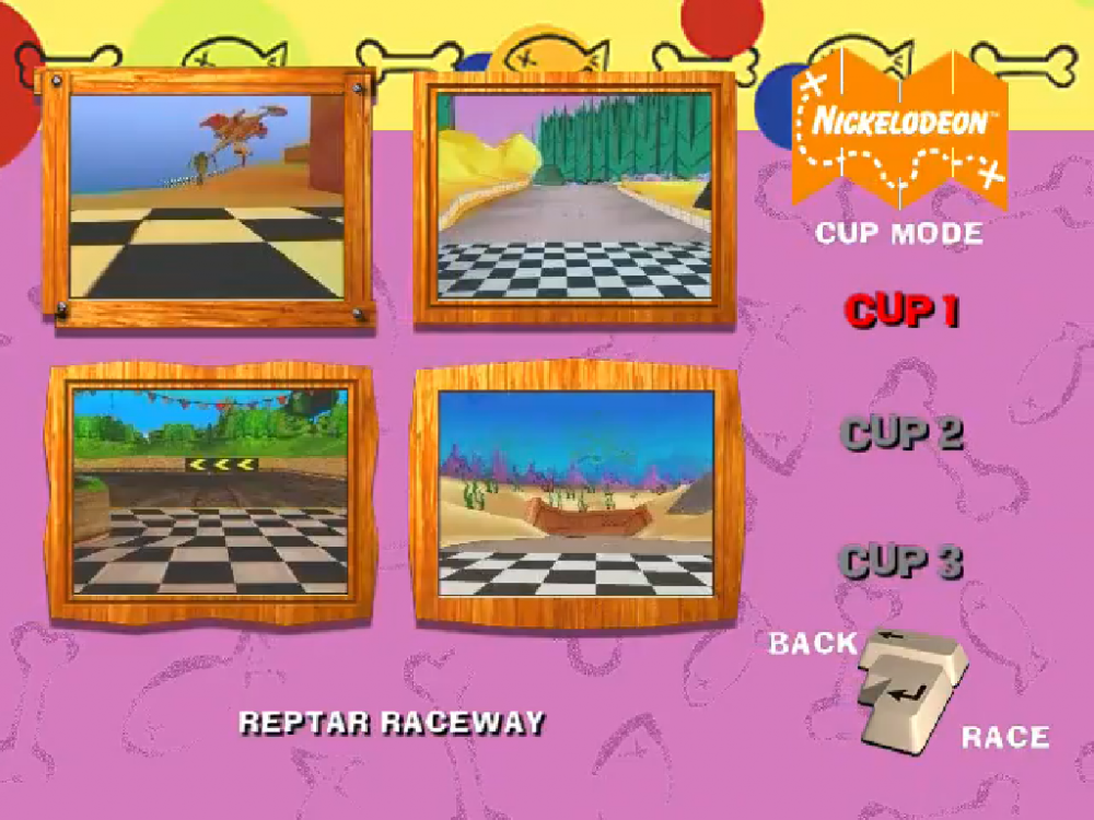 The Nicktoons Racing cup select menu, showing four Nickelodeon-themed race tracks.