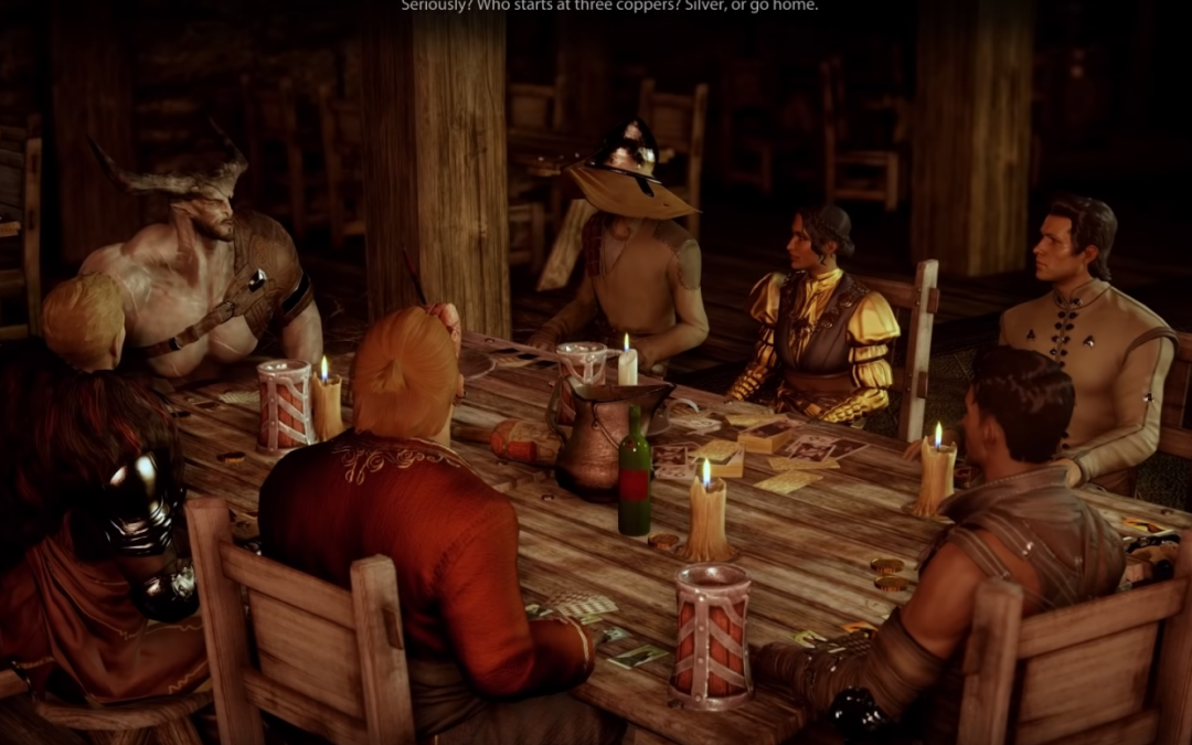 A screenshot of Dragon Age Inquisition showing the main characters seated around a table for a card game.