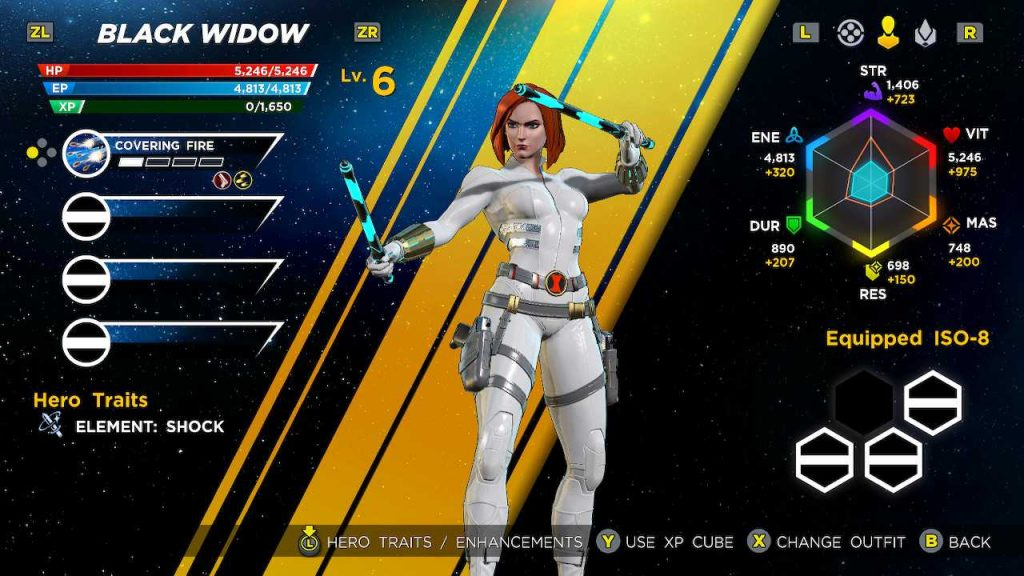 Black Widow's white and silver alternate costume for Marvel Ultimate Alliance 3. Marvel Ultimate Alliance 3: The Black Order, Team Ninja, Nintendo, 2019.