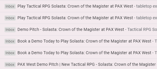 Nola's email inbox full of Solasta: Crown of the Magister promotional emails.