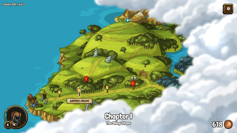 """A screenshot of the island and the levels players can navigate to. The second level marker has a banner reading """"SURPRISE AMBUSH!"""" under it. Past the fourth marker, the island is obscured by clouds."""