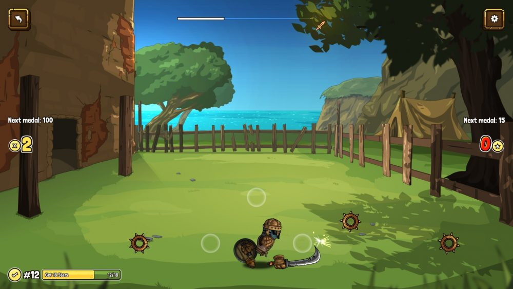 A screenshot of the player character training. They're in a fenced off yard, waving a cutlass at small wheel-shaped targets.