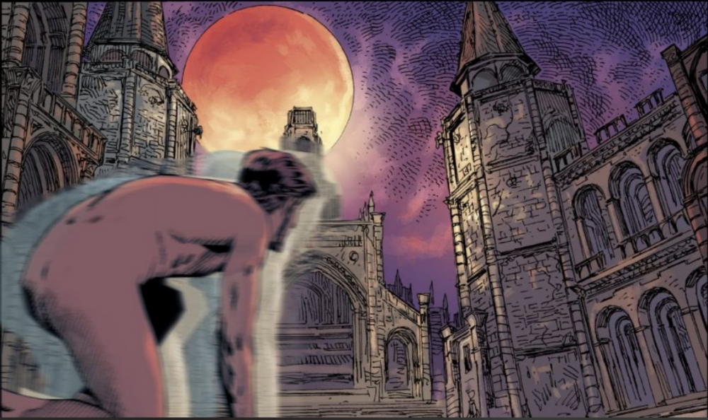 The nameless protagonist of the Bloodborne comics kneels, naked, in front of the Pale Blood Moon.