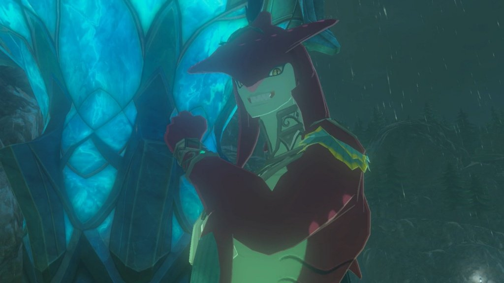 Sidon grins at the camera and shows off his big fish muscles. He's hot.