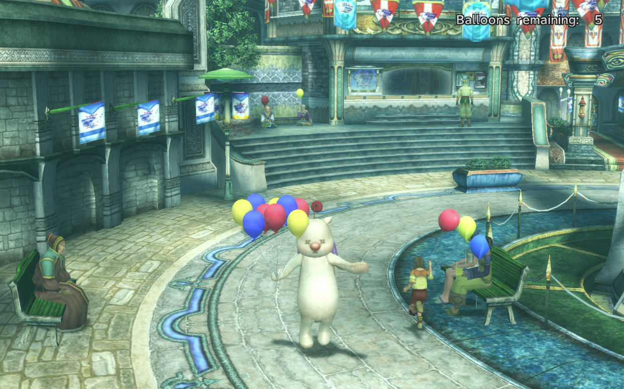 A screenshot of Final Fantasy X-2 showing Yuna in her Moogle dressphere.
