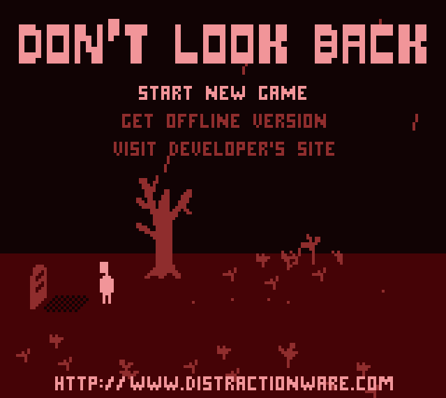 The title screen of Don't Look Back, which shows the Orpheus character looking at a gravestone on a field of red.