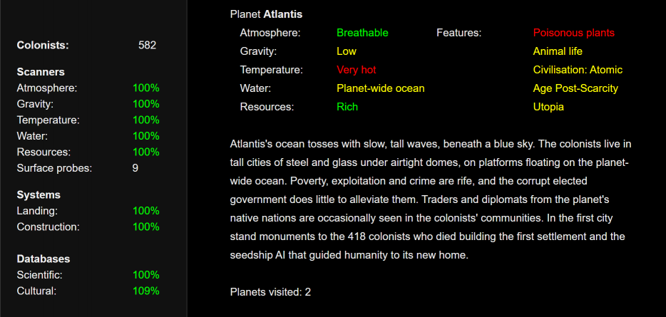 A seedship screenshot showing a detailed description of a planet, including its culture and the results of landing there. Seedship, John Ayliff, 2017.