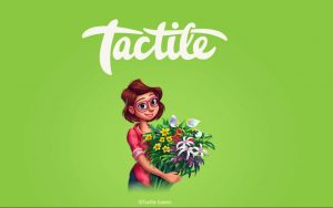 Lily holds a bunch of flowers under the Tactile logo.