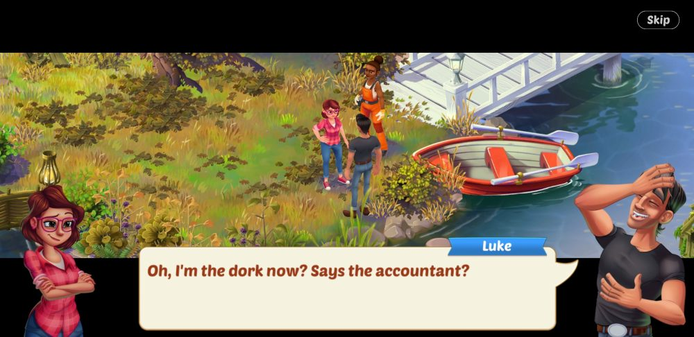 "Lily and Luke stand in a garden. Luke, laughing, says, ""Oh, I'm the dork now? Says the accountant?"""
