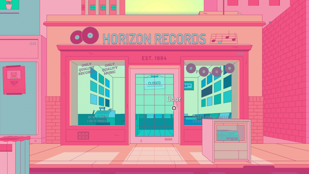 A screenshot of Off the Record showing the record store, Horizon Records, in bright vaporwave pink.