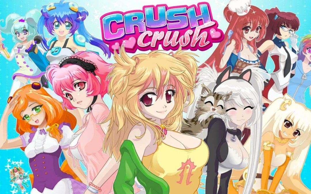 The game banner for Crush Crush. The logo is in the top center, almost crowded out by many, many anime girls. Hair: big, brightly colored. Boobs: also big, more covered than you might expect (for now).