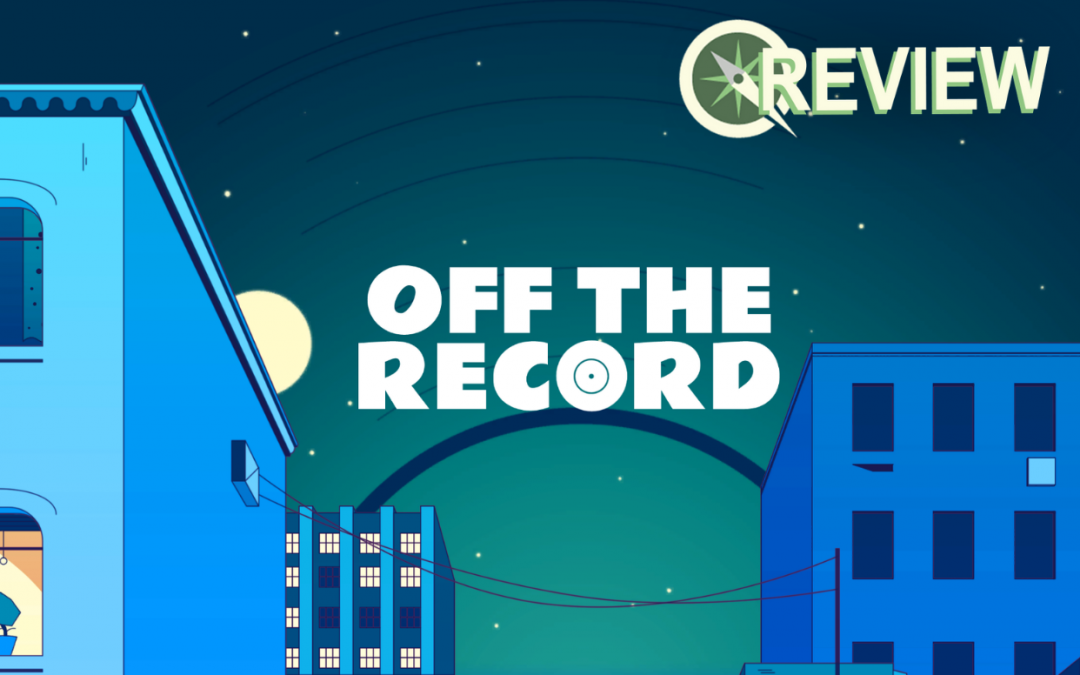 A screenshot showing the title screen of Off the Record, with the title superimposed over a night sky.
