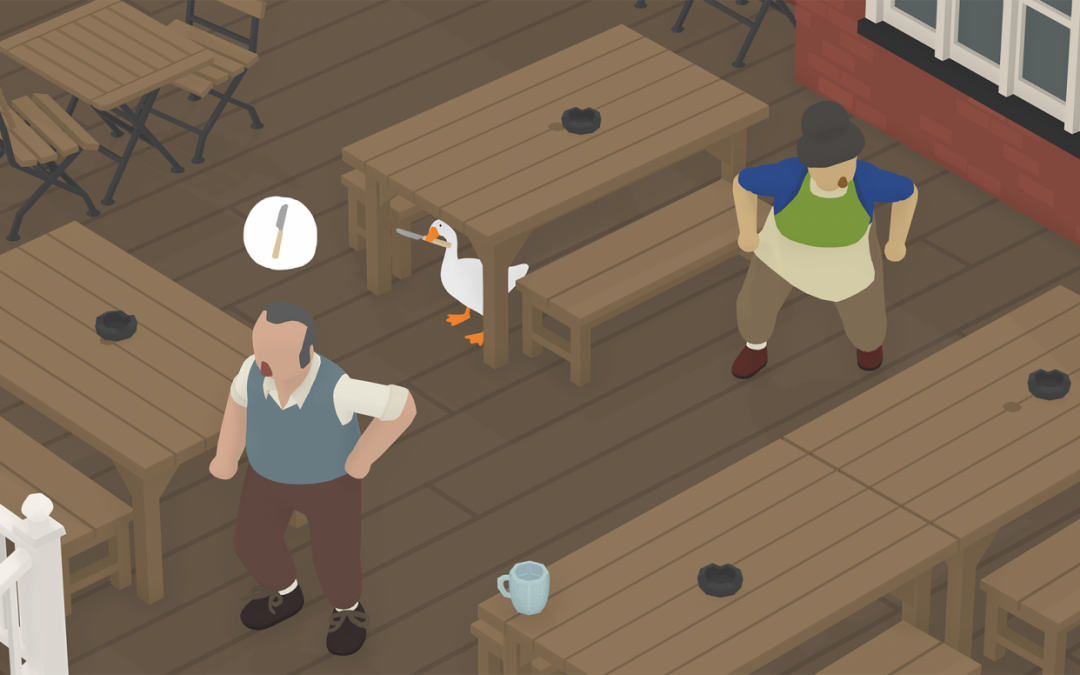 A screenshot of the Untitled Goose Game showing the goose holding a butter knife under a table, while a man and woman look for it.
