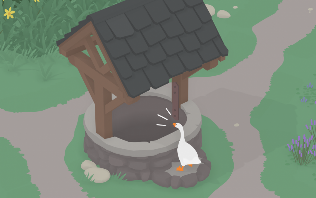 A screenshot of the Untitled Goose Game showing the goose honking into a well.