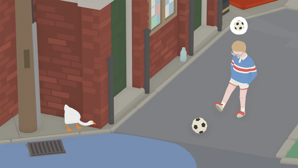 A screenshot of Untitled Goose Game showing a young boy kicking a soccer ball while thinking about soccer. Around the corner, the goose waits.
