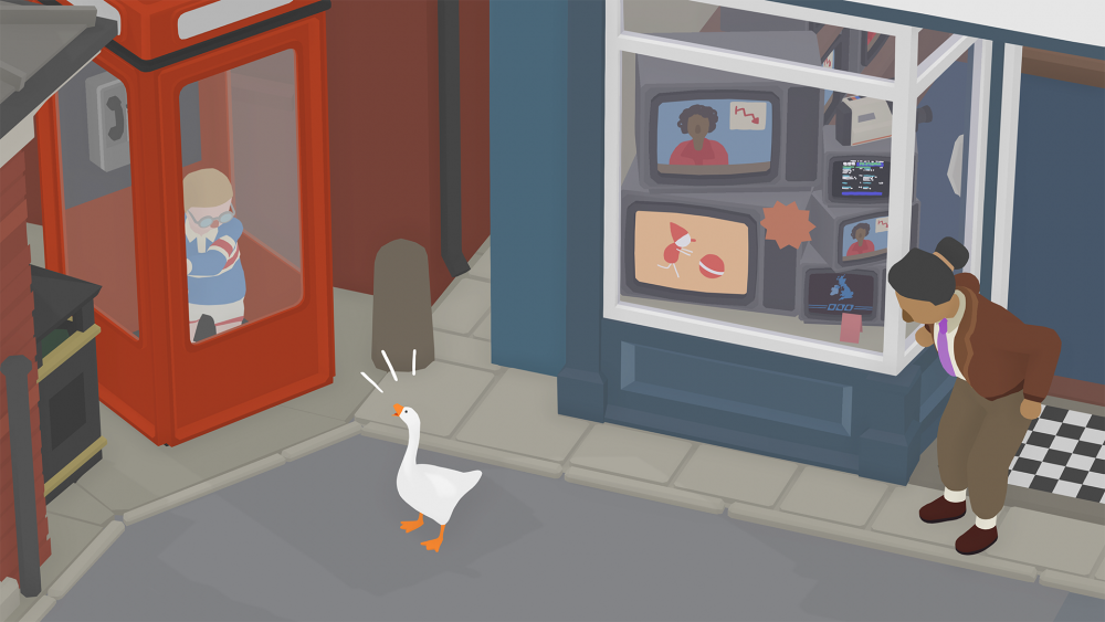 A screenshot of Untitled Goose Game showing the goose honking at a boy in a phone booth while a nearby person looks disapproving.