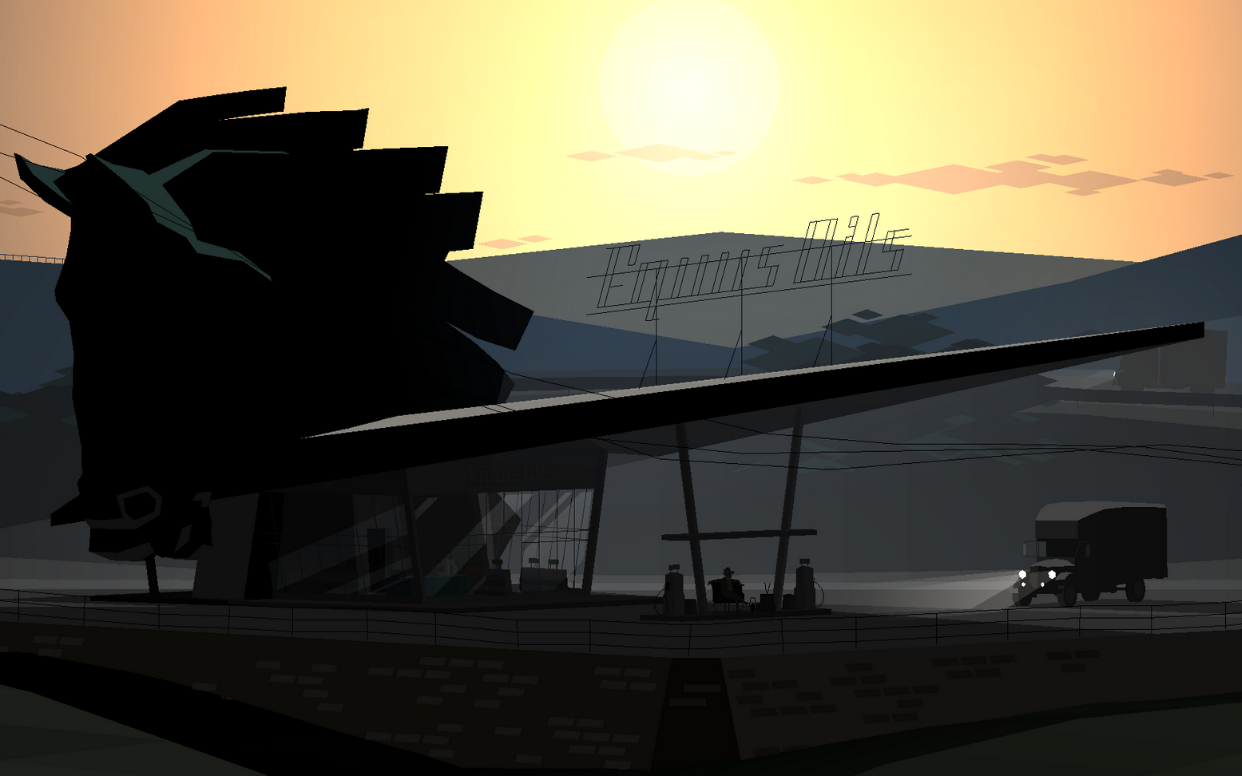 A screenshot of the starting area of Kentucky Route Zero: a stark silhouette of a gas station in front of a distant mountain, sun beginning to set in the background.