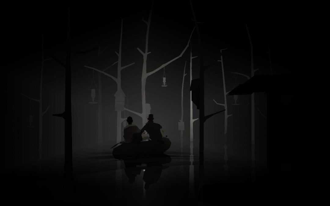 A screenshot of two characters in a boat.