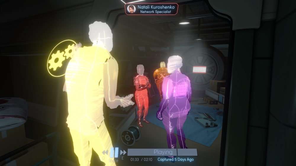 A screenshot of Tacoma showing several crew members having a discussion. <em>Tacoma</em>, The Fullbright Company, 2017.