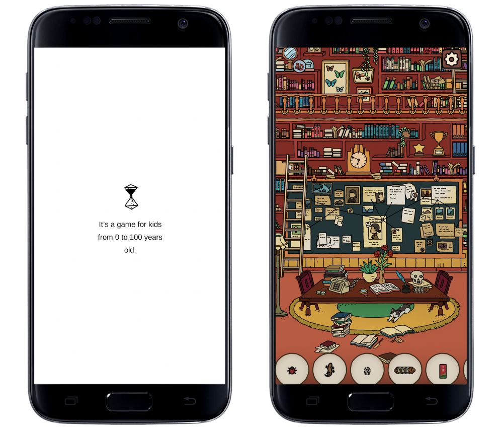 """Two screencaps framed in a representation of a mobile phone. The left screencap displays text that says, """"It's a game for kids from 0 to 100 years old."""" against a solid, white background underneath a represenation of an hourglass. The right screencap depicts a highly detailed illustration of a study room with a library and filled up bulletin board. Various objects are encircled and displayed below. From Dream Detective, Century Game, 2019."""