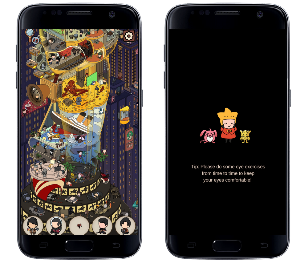 """Two screencaps framed in a representation of a mobile phone. The left screencap features a busy illustration of a building shaped like an Oscar Award with sets and displays parodying different movies. Various objects and people are encircled and displayed below. The right screencap shows a child standing with two creatures as they are tenderly holding their faces. Below them text reads: """"Tip: Please do some eye exercises from time to time to keep your eyes comfortable!"""". From Dream Detective, Century Game, 2019."""