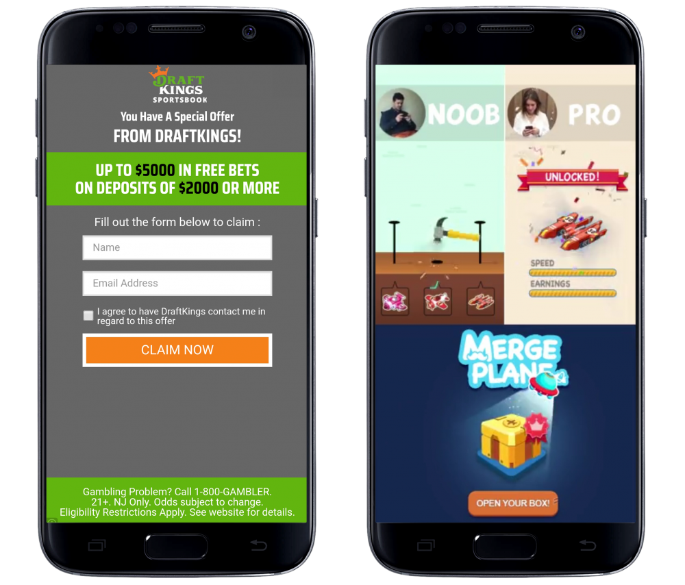 Two screencaps framed in a representation of a mobile phone. The left shows an ad for Draftkings Sportbooks that presents a form to sign up for a claim. The right shows an ad for the app, Merge Plane, featuring fake gameplay footage in which a man and woman are edited to look like they're using the app. From Dream Detective, Century Game, 2019.