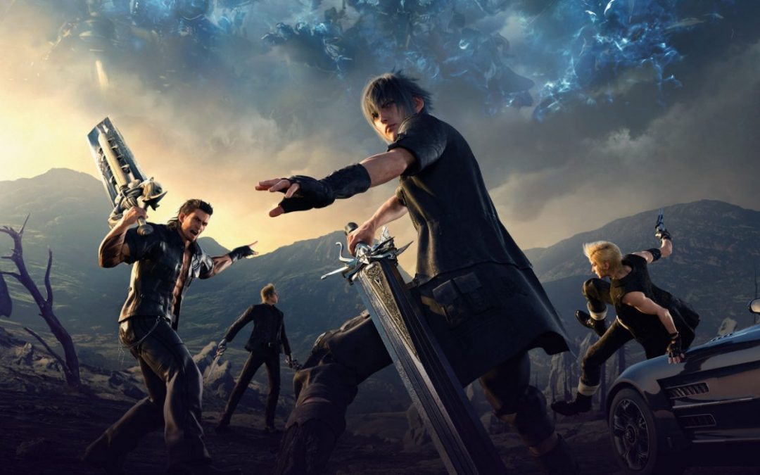 The main characters of Final Fantasy XV pose in front of a car and vast landscape while a large being hangs in the sky far behind them.