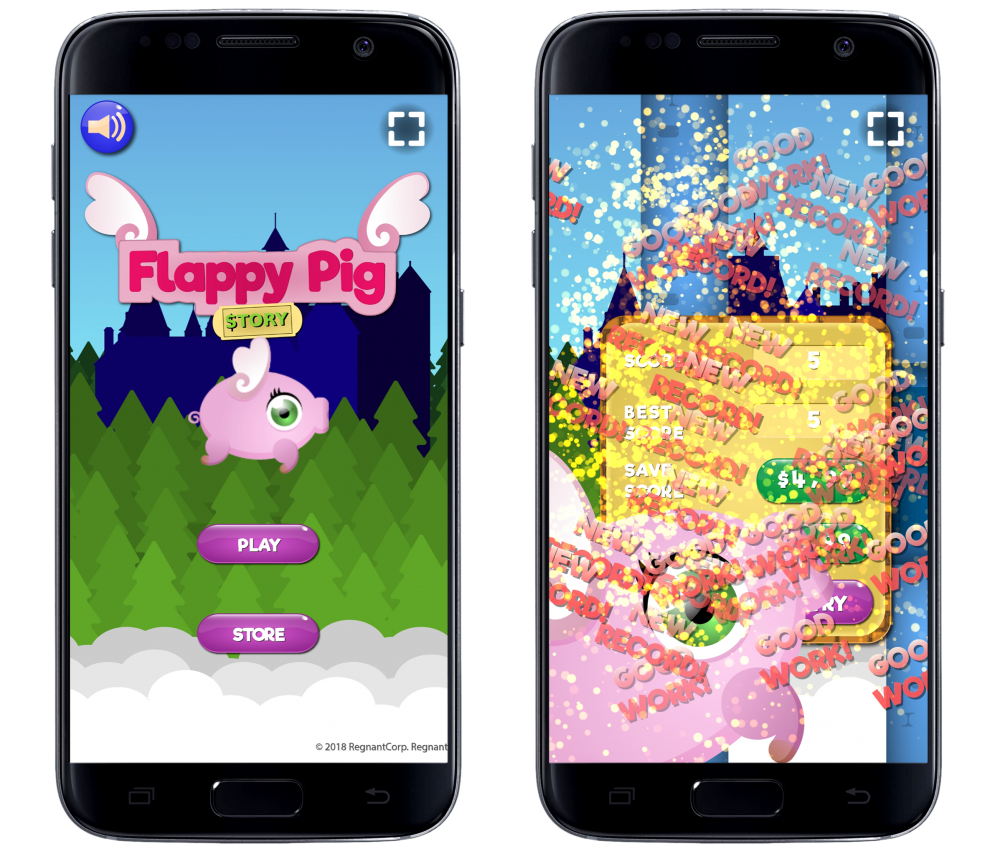 "Mobile representations of a fake game called ""Flappy Pig: Story"". The pig is cartoonishly designed in an unflattering way with a huge, green eye and wings on its back. In the first screenshot on the left, the pig floats against a generically designed forest backdrop in the sky over menu buttons that say ""PLAY"" and ""STORE"". The second screenshot is a mess of phrases like ""GOOD!"" and ""NEW RECORD!"" flooding the screen."