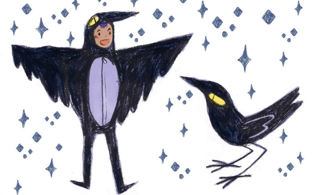 A drawing of Dames and Dragons character Corbin in crow pajamas.