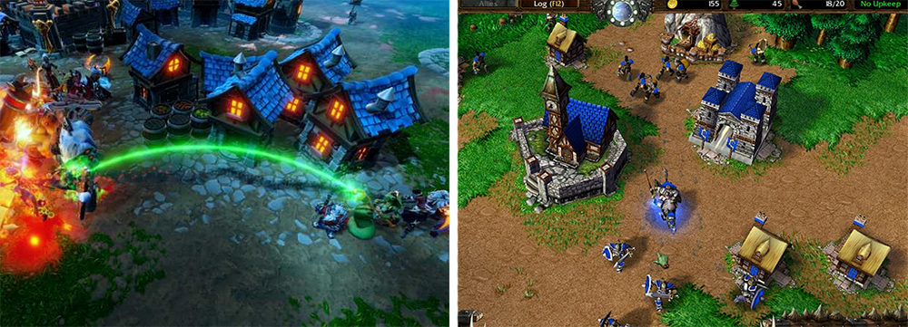 A comparison of the buildings in Dungeon 3 and Warcraft. Both are of the same old European style, with chimneys, sloping roofs, and blue shigles.