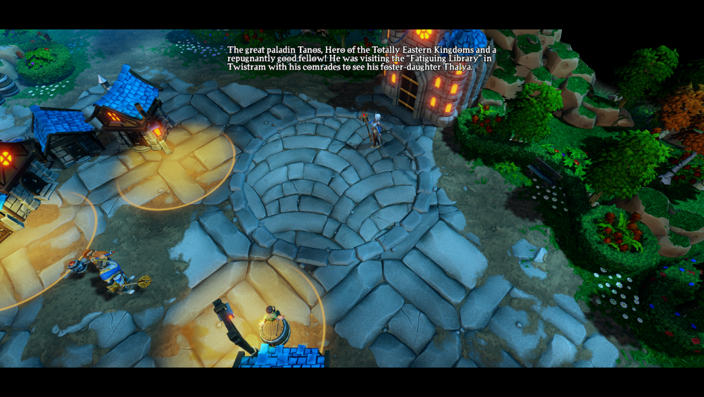 "A screenshot of some dialogue in Dungeons 3. The narrator's speech reads: ""The great paladin Tanes, Hero of the Totally Eastern Kingdoms and a repugnantly good fellow! He was visiting the ""Fatiguing Library"" in Twistram with his comrades to see his foster-daughter Thalya."" Dungeons 3, Realmforge Studios, Kalypso Media, 2017"