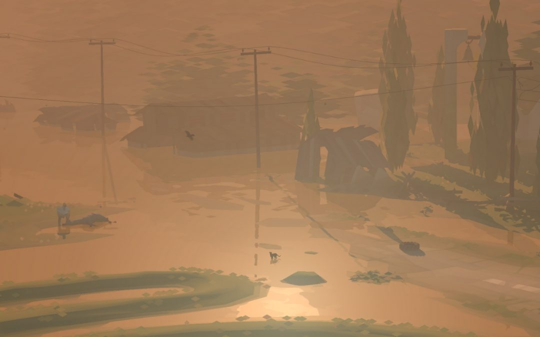 A screenshot of the flooded Town at sunset. The light is a somber orange, and the ridges, trees, and telephone wires of the town peek out from the water. Kentucky Route Zero, Cardboard Computer, Annapurna Interactive, 2020.