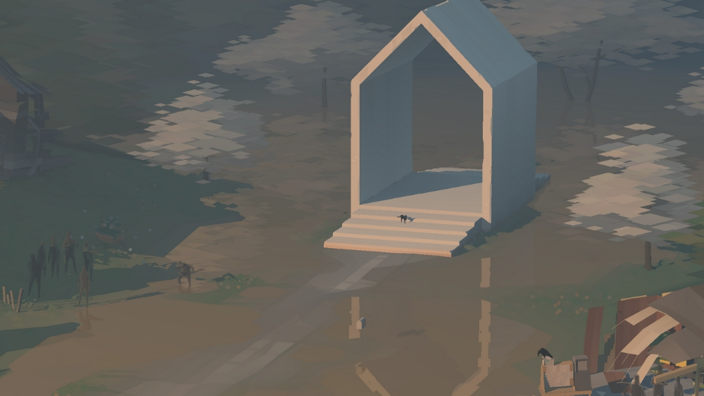 Ghosts gather at the site of the unfinished drainage pipe, which would have prevented the town's flooding while the cat, the player character for Act V, stands on the steps of the empty 5 Dogwood Drive. Kentucky Route Zero, Cardboard Computer, Annapurna Interactive, 2020.