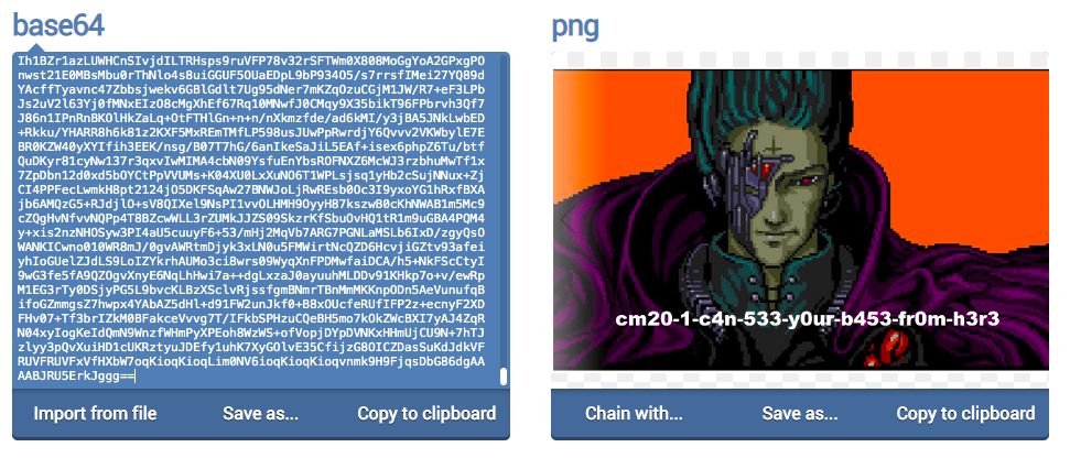 "On the right, a long string of Base64 code; on the left, the png image that was created from it. The png is the image from the ""All your base are belong to us"" meme."