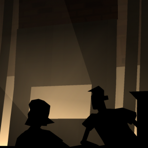 Silhouetted people at a bar. Kentucky Route Zero, Cardboard Computer, Annapurna Interactive, 2020