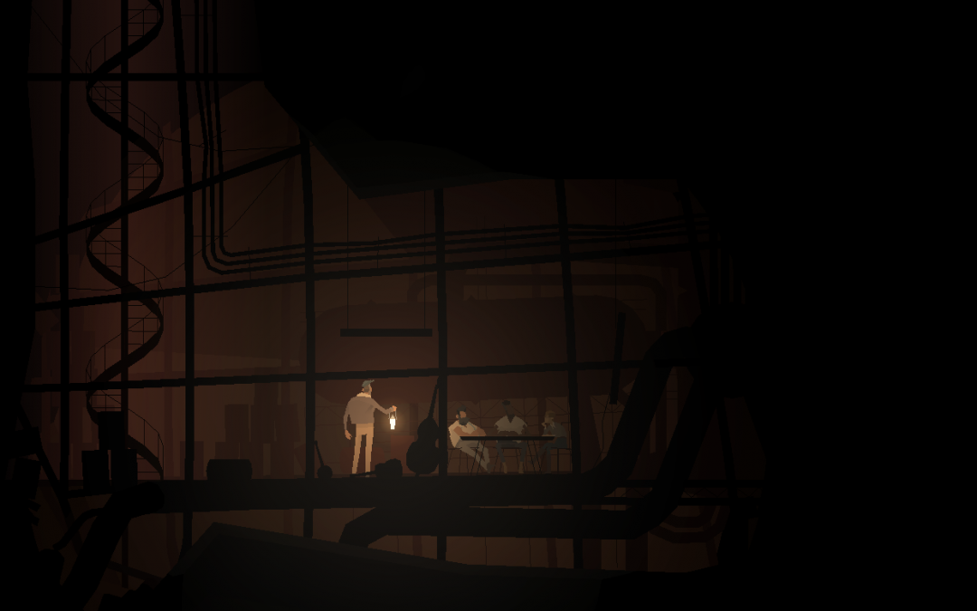 The cellar of a gas station shaped like horse. A man with a lantern stands over a table with three seated figures. Kentucky Route Zero, Cardboard Computer, Annapurna Interactive, 2020.