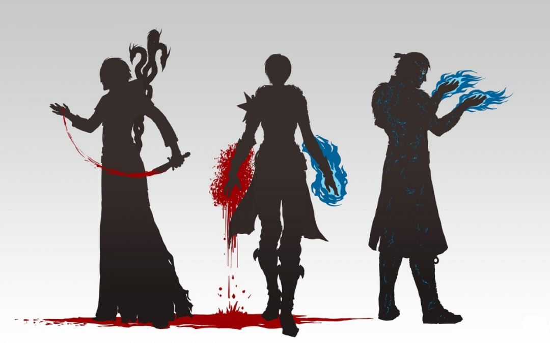 Three silhouetted characters from Dragon Age stand in front of a white background. On the left, a character in long robes cuts one palm and drips red onto the ground. In the middle, a character in boots and a single spiky pauldron drips red magic from her left hand while firy blue magic coats her right. On the right, a character in a knee-length coat holds the blue fire in the air. Dragon Age 2, BioWare, 2011.