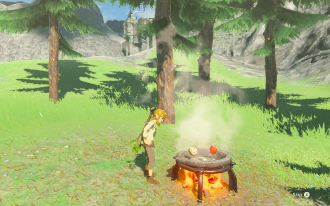 Standing nearby trees with the Temple of Time in the background, Link leans over a fire pit with apples. The Legend of Zelda: Breath of the Wild, Nintendo, 2017.