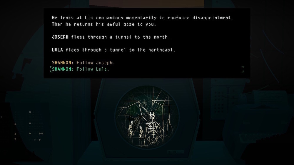 "A grainy computer screen at the center of the shot shows golden, glowing, skeletal figures. The text reads: He looks at his companions momentarily in confused disappointment. Then he returns his awful gaze to you. / JOSEPH flees through a tunnel to the north. / LULA flees through a tunnel to the northeast."" The options presented to the player are ""SHANNON: Follow Joseph."" and ""SHANNON: Follow Lula."" The player has selected ""Follow Lula."" Kentucky Route Zero, Cardboard Computer, Annapurna Interactive, 2020."