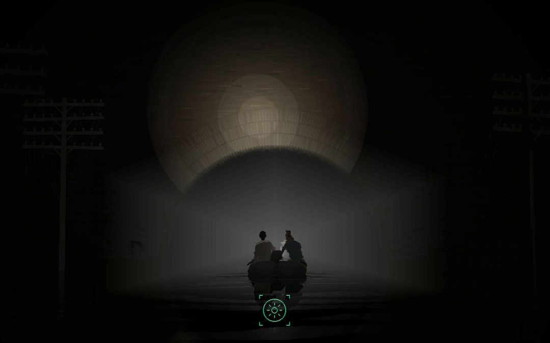 A screenshot from Kentucky Route Zero Act IV. Two people sit in a motorboat at the center of the screen, silhouetted. The light at the front of the boat reflects off a tunnel, haloing them in dim, gray-golden light. Kentucky Route Zero, Cardboard Computer, Annapurna Interactive, 2020.