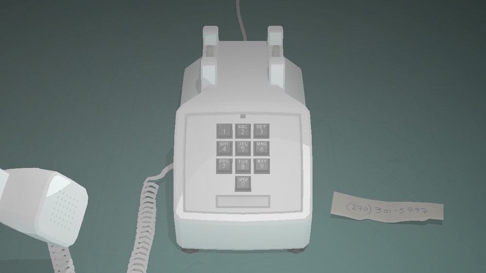 A white telephone on a grey-teal background. The receiver is held up offscreen, as if to the player's ear. The scrap of paper next to the phone reads (270) 301-5797. Kentucky Route Zero, Cardboard Computer, Annapurna Interactive, 2020.